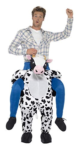 Smiffys Herren Huckepack Kuh Kostüm, Einteiler mit Beinen, One Size, Schwarz und Weiß, 24659