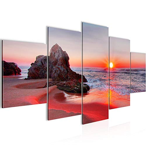 Bilder Sonnenaufgang Strand Wandbild 200 x 100 cm Vlies - Leinwand Bild XXL Format Wandbilder Wohnzimmer Wohnung Deko Kunstdrucke Rot 5 Teilig - MADE IN GERMANY - Fertig zum Aufhängen 609551b