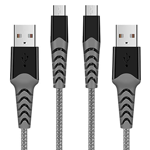 Micro USB Cable 2M/6.6FT 2Pack Android Charger Cable - 2.4A Nylon Braided Durable USB Charging Cable for Samsung Galaxy S7/S6/S4/S3/J7/J5/J3, Tablet, E-Readers, Sony, HTC, LG, Nexus, PS4, Xbox etc.