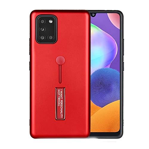 WANTONG Funda de Piel for Samsung Galaxy A31 Aceite Siente a Prueba de Golpes TPU + PC Funda Protectora con Titular (Color : Red)