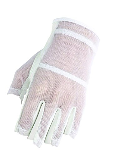 HJ Glove Women's White Solaire Half Length Golf Glove, Medium, Left Hand