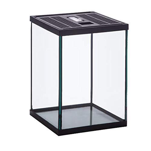 Eillybird reptielenaccessoires Crawling Box voederbox glazen container Terrarium Natuurlijke comfortabele schildpad voederbak, 200 * 200 * 275 mm, zwart
