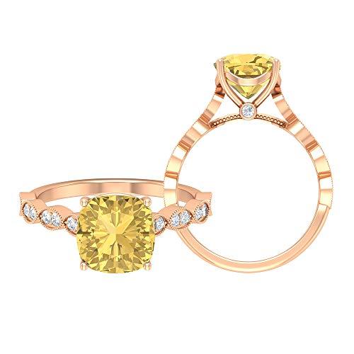 Rosec Jewels 14 quilates oro rosa cojín Round Brilliant Yellow Moissanite Citrine