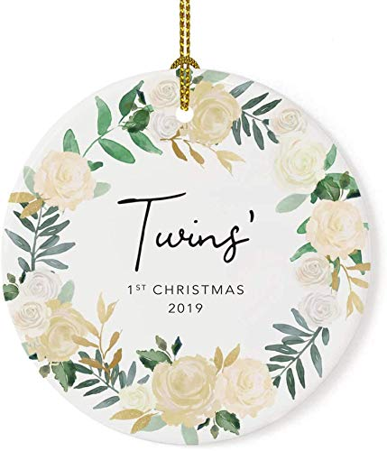 Lplpol 3 Inch Custom Year Twin Baby Gift Twins' 1st Christmas 2020 Ivory Roses Floral Wreath Christmas Ornament Tree Holiday Ornament