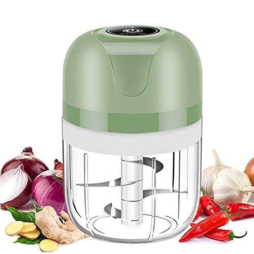 Mini Tritatutto da Cucina Elettrico, USB Ricaricabile Tritatutto, Tritatutto Elettrico Portatile Senza Fili con 3 Lame Affilate Robot da Cucina, per Frutta Aglio Carne Verdure e Cipolle (250ml)