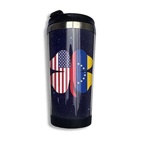 Taza de café de trébol de bandera de Venezuela americana con tapa para té café acero inoxidable portátil 400 ml