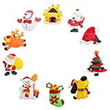 Beaupretty 10 Piezas de Imanes de Nevera de Navidad Set Resina Santa Muñeco de Nieve Encantos de Espalda Plana Pegatinas de Nevera de Vacaciones Decoración de Pizarra de Navidad (Estilo