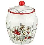 Porcelain Kitchen Storage Jar w/ Strawberry Floral Pattern, Airtight Lid,400 ml Kitchen organization Kitchen decor Kitchen accessories Kitchen storage Food storage Cookie jar Kitchen organization