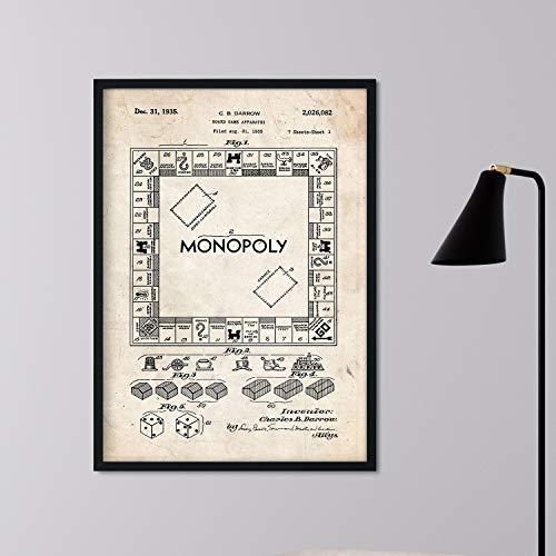 Poster Nacnic Patent Monopoly. Blatt mit altem Design-Patent in der Größe A3 und Vintage-Hintergrund