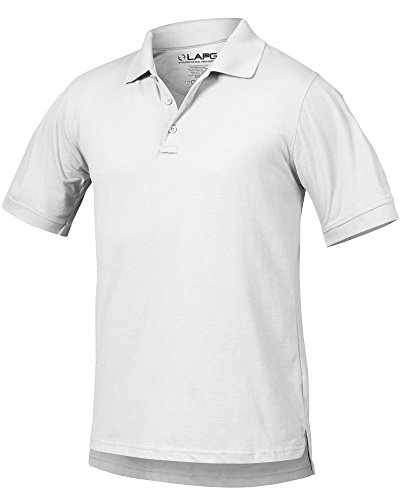 LA Police Gear Men Antiwrinkle Operator Tactical Short Sleeve Polo Shirt - White - L