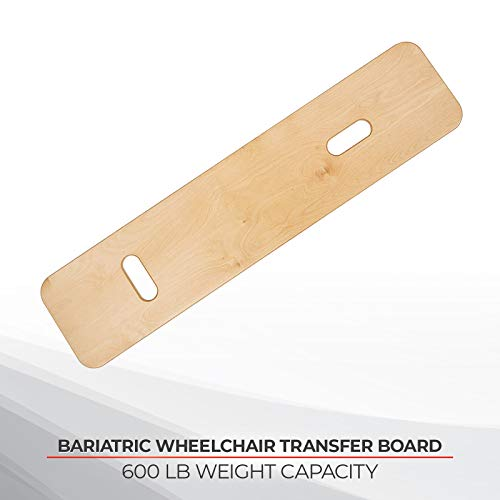 Sammons Preston Bariatric Transfer Board for Wheelchair Users, Sliding Board with Handles, 35' Medical Transfer Board, Slide Board for Overweight Users, Strong Wood Slider Board, 600 lbs. Capacity