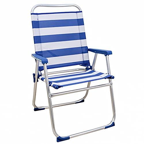 Arcoiris Silla Playera Plegable, Silla Aluminio, Tubo 22/19mm, Tela Texilene (1/2/4 Unidades, Rayas Azul y Blanco)… (1 Unidad, Rayas Azul y Blanco)