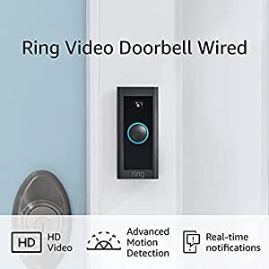 Ring Video Doorbell Wired – Convenient, essential features in a compact design, pair with Ring Chime to hear audio alerts in your home (existing doorbell wiring required) - 2021 release