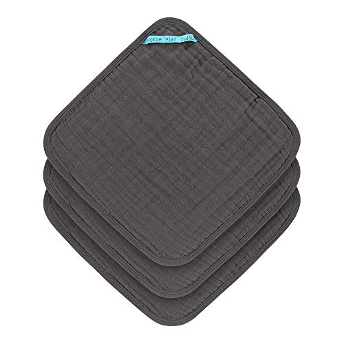 LÄSSIG Muslin Waschlappen Baumwolle 3er Set/Wash Cloth anthracite