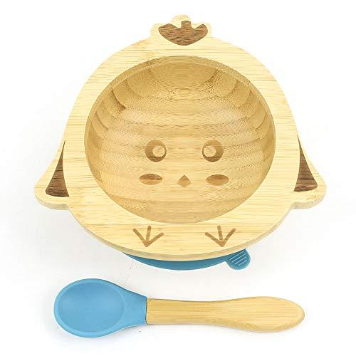 Cozy Vibe Süßes Küken Baby Saugnapf-Schüssel mit passendem Löffelset, Standfeste Saug-Fütter-Schüssel, aus naturbelassenem Bambus,Umweltschutz (Blue)