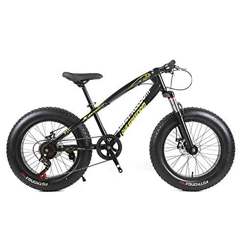 Unisex Hardtail-Mountainbike 7/21/24/27 Geschwindigkeiten 26 Zoll Fat Tire Rennrad Snow Bike/Beach Bike Mit Scheibenbremsen und Federgabel,Black,7Speed