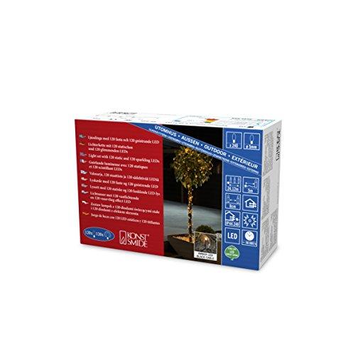 Konstsmide 3642-810 LED Lichterkette, mit Glimmereffekt / für Außen (IP44) / 240 bernsteinfarbene Dioden (120 glimmend) / 24V Außentrafo / schwarzes Kabel