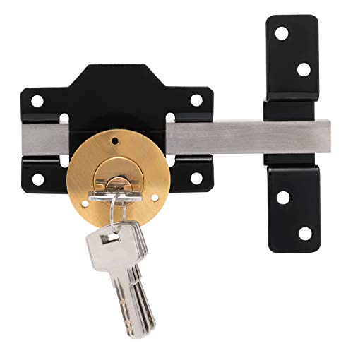 XFORT Long Throw Gate Lock 50mm, Single Locking Door Latch for External Doors, Weatherproof and Corrosion Resistant Shed Door Lock with 5 Keys, Stainless Steel Security Lock for Enhanced Safety.