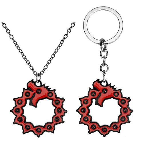 Feidiao The Seven Deadly Sins Meliodas Porte-clés Dragon's Sin of Wrath Pendentif Colliers pour Hommes Cadeaux