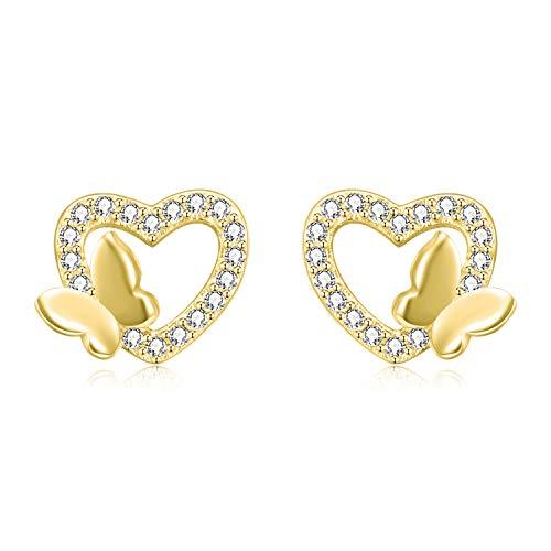 Ohrringe Herz Ohrstecker mit Schmetterling aus 925 Sterling Silber und Zirkonia Steinen mit Rhodium, Rosegold oder 750er Gelbgold Veredelung inkl. 2x Ersatzverschluss