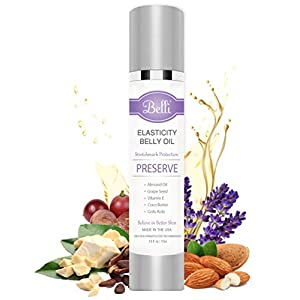 Belli Elasticity Belly Oil Stretch Mark Protection Formula | Cocoa Butter, Grapeseed and Sweet Almond Extract Oils, Vitamin E Blend | Pregnancy-Safe, Vegan, Organic | Maternity, Postpartum Care Gifts