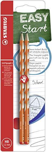 Schmaler Dreikant-Bleistift für Rechtshänder - STABILO EASYgraph S in orange - 2er Pack - Härtegrad HB