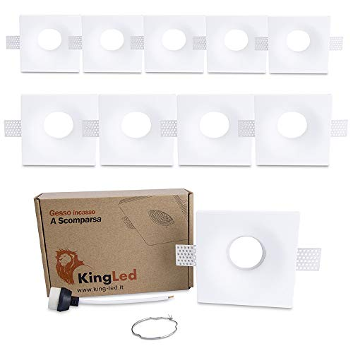 KingLed - 10x Portafaretto in Gesso Ceramico da Incasso Conico per Controssoffitti per Faretti Led GU10 e MR16 - Dimensione 120x120x43mm Cod. 1426