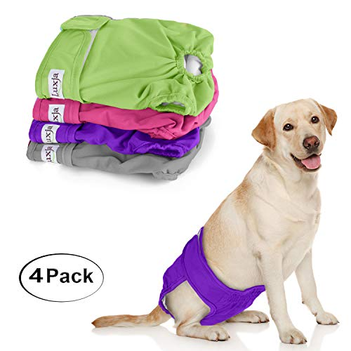 LUXJA Reusable Female Dog Diapers (Pack of 4), Washable Wraps for Female Dog (Large 1, Gray+Green+Purple+Rose Red)