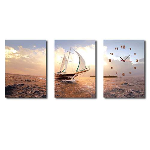 Boot Auf Dem Meer Mit Uhr Moderne Wandkunst Gedruckt Leinwand Malerei Für Wohnzimmer Wohnkultur Klassische Landschaft 50x70 cm Kein Rahmen, 3 stücke