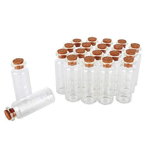SHiZAK 20 ml Mini-Glasflaschen mit Korkverschluss transparent Wunschflaschen Kosmetikbehälter für DIY Kunst Basteln Dekoration, Hochzeit Gastgeschenke Schmuck Party Gastgeschenke Aufbewahrung Zubehör