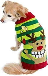 Ugly Christmas Sweater for dog. Smiling Rudolph the red nosed reindeer hanging Christmas lights. Green stripes