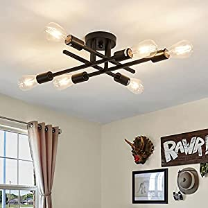 6-Lights Semi Flush Mount Ceiling Light Fixture,Black Industrial Chandelier,Farmhouse Lighting for Dining Room Living Room Kitchen Bedroom