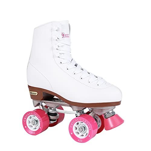 Chicago Women's Classic Roller Skates - Premium White Quad Rink Skates , White, 8