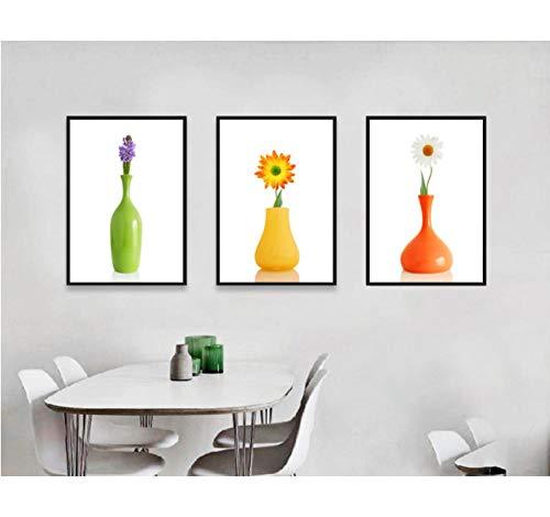 Liangzheng Nordic Small Fresh vaas, bloemen, 3-delig, canvas paintings decoratieve paintings voor de woonkamer, onframed 50 x 70 cm