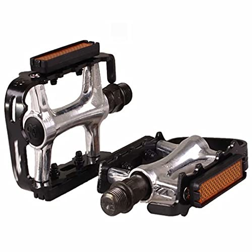 Bike Pedals, Flat Bicycle Pedal Non-Slip, for folding bicycles, children's bicycles, etc(With reflector),Black,8.5cm×6.3cm×1.4cm