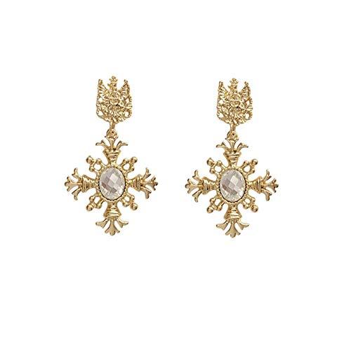 Orecchini pendenti con strass intarsiati in metallo barocco vintage Orecchini pendenti con corona classica da palazzo per le donne Regalo gioielli orecchio per ragazze 2 pezzi