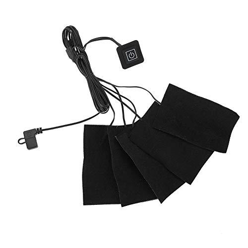 5-in-1 USB電気布ヒーター パッドカーボンファイバー 加熱衣服パッド 調節可能 サードギアマットシートヒーター ユニセックス 男女兼用