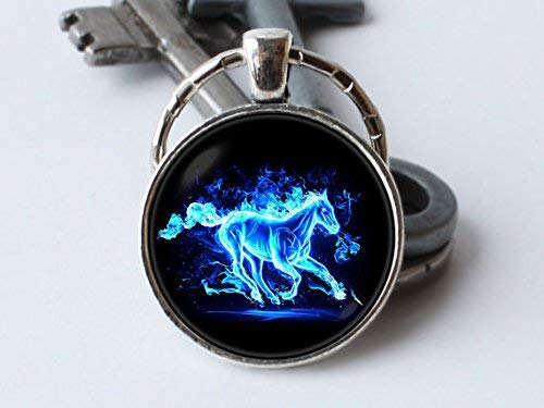Huangwiglass Schlüsselanhänger mit Rennpferd-Motiv, Pferde-Schmuck, Pferde-Liebhaber, Geschenk, Pferde-Anhänger, Rodeo Wildpferd, Schlüsselanhänger