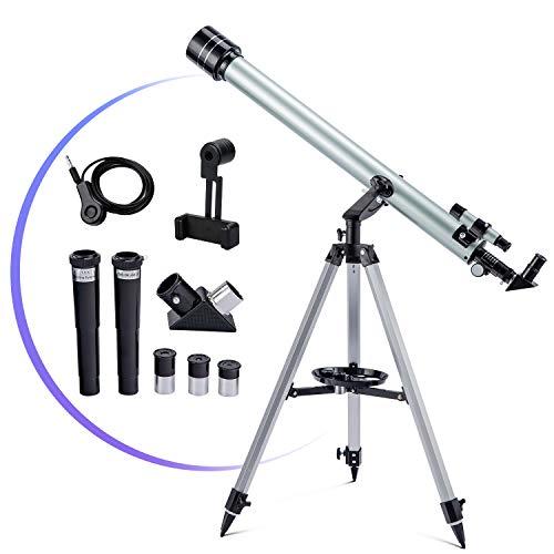 Télescope 60mm Astronomique Télescope pour Débutant Adulte et Enfant Télescope Réfracteur Professionnel 900mm télescope monoculaire astronomique - Regardez la lune et observez les oiseaux