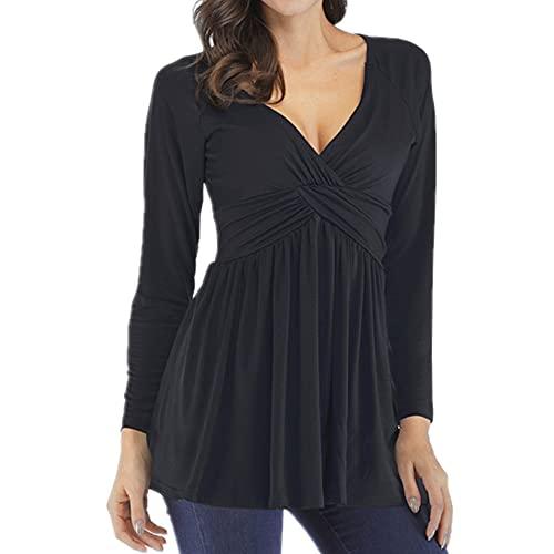 Manga larga con cuello en v suelta mujeres camiseta otoño mujeres ropa color sólido camiseta