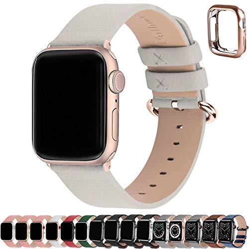 Fullmosa Correa de Apple Watch, 38 mm 40 mm 42 mm 44 mm Correa Compatible con iWatch, Correa de Cuero, Compatible con Apple Watch SE y Serie 6 5 4 3 2 1, Blanco + Hebilla de Oro Rosa, 38mm/40mm