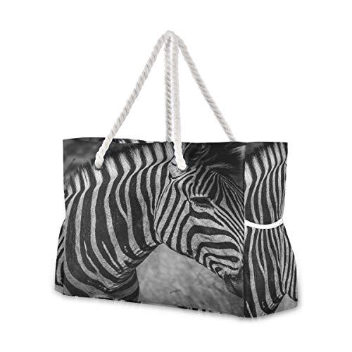 YXUAOQ Strandtasche Schwarzweiss-Zebra-Herrentaschen Reise-Strandtasche Frauen 20,5 x 7,3 x 15-Zoll-Reißverschluss mit Baumwollgriff für Picknicks Reiseurlaub