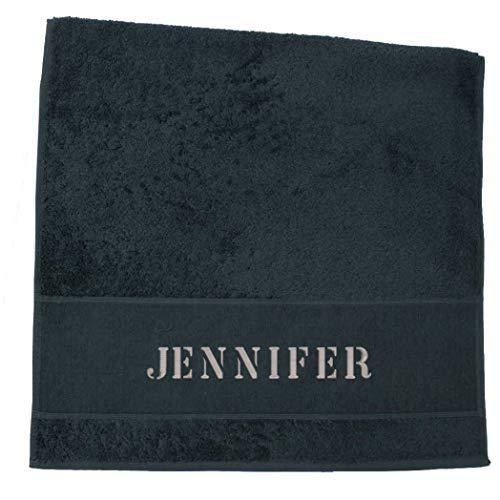 Premium Handtuch | Duschtuch | Saunatuch Porto aus Frottee, 500 g/m2 mit Namensbestickung | Bestickt mit Namen oder Wunschtext, Handtuchgröße:50 x 100 cm Handtuch, Handtuch Porto:Schwarz