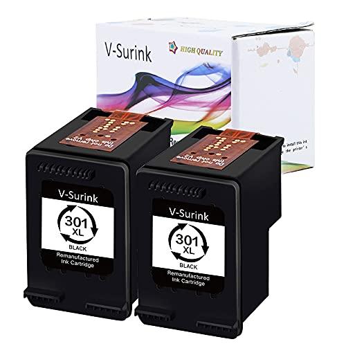 Confezione da 2 cartucce di inchiostro rigenerate V-surink con chip aggiornato per stampanti HP 301 301XL Envy 4500 5530 5534 5535 Deskjet 1000 1010 1512 1510 3050 Officejet 4630 2620 4635 (2 nere) .