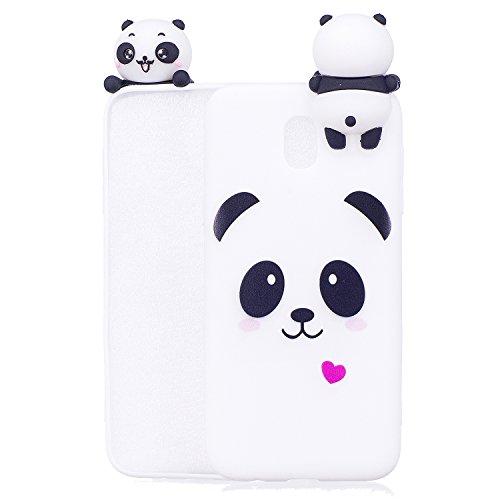 Nodigo Cover Compatibile con Samsung Galaxy J3 2017 Silicone 3D Animale con Disegni Motivo Gomma Antiurto Matte Case Resistente Protettiva Bumper Belle Kawaii Colorate Custodia - Panda A