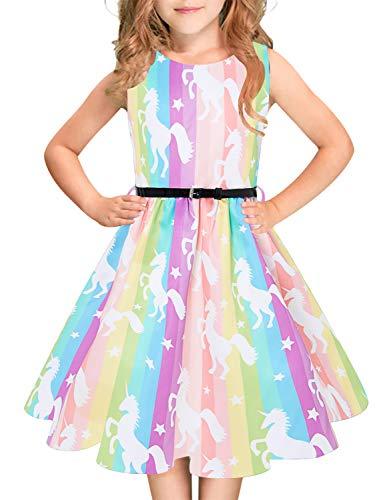 Idgreatim Mädchen Halloween Sommerkleid Kürbis 1950 Rockabilly Swing Sommerkleid, Style 11, Gr.- 7-8 Jahre/ Medium