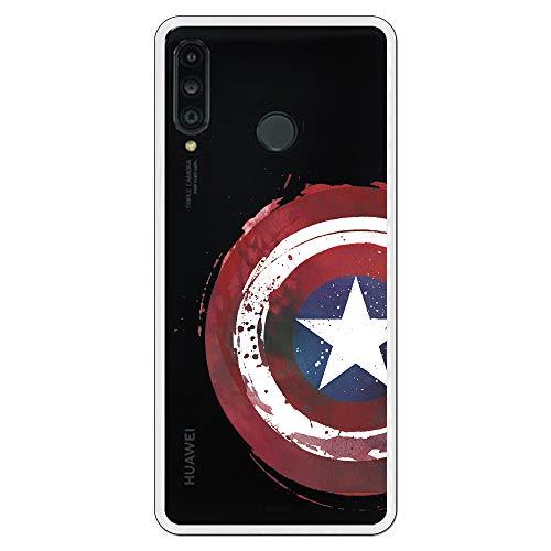 Cover per Huawei P30 Lite Ufficiale Marvel Capitan America Scudo Trasparente per proteggere il tuo cellulare Cover per Huawei in Silicone Flessibile con Licenza Ufficiale Marvel.