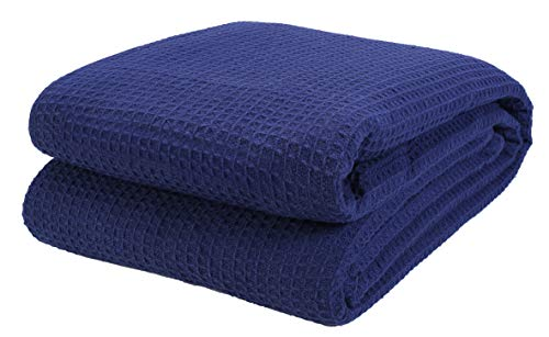 Cotton Clinic 100% Cotton Bed Blanket, Bed Blanket King Size, Cotton Thermal Blankets King Size, Perfect for Layering Any Bed for All Season, Soft and Breathable Navy Blanket