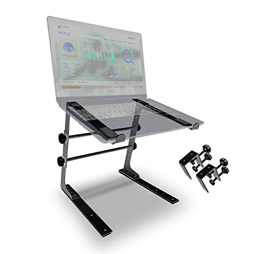 AxcessAbles LTS-02 Height/Width Adjustable Tabletop Stand with Optional Table Clamps for DJ Laptop, Compact Mixer, Controller (Black)