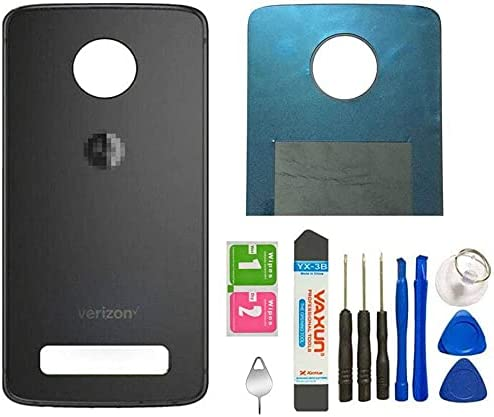 Z4 Back Cover Glass Replacement with Adhesive Door Housing Parts Replacement for Motorola Moto Z4 XT1980-4 Verizon Panel W/Eject Pin Tools (Z4 Back Glass/Gray)